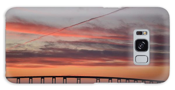 Colorful Sunrise Over Navarre Beach Bridge Galaxy Case
