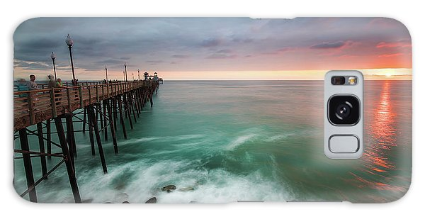 Pacific Ocean Galaxy Case - Colorful Sunset At The Oceanside Pier by Larry Marshall