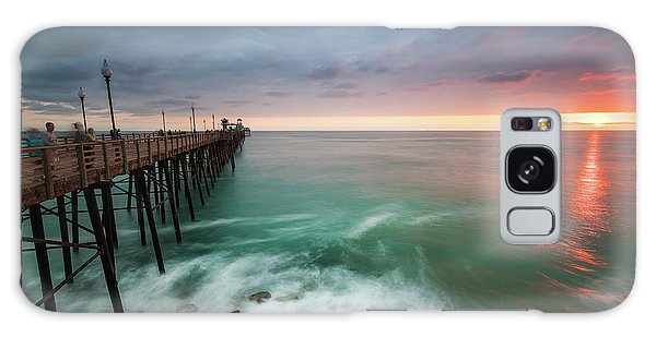 Pier Galaxy Case - Colorful Sunset At The Oceanside Pier by Larry Marshall