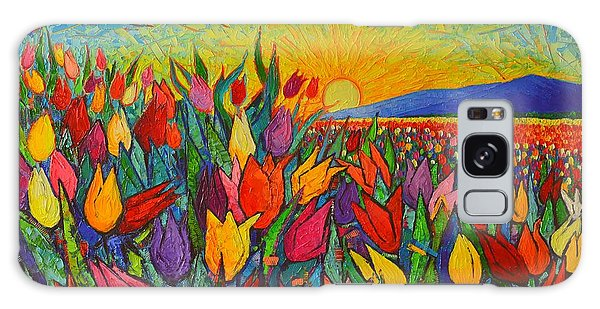 Colorful Tulips Field Sunrise - Abstract Impressionist Palette Knife Painting By Ana Maria Edulescu Galaxy Case