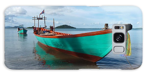 Colorful Turquoise Boat Near The Cambodia Vietnam Border Galaxy Case