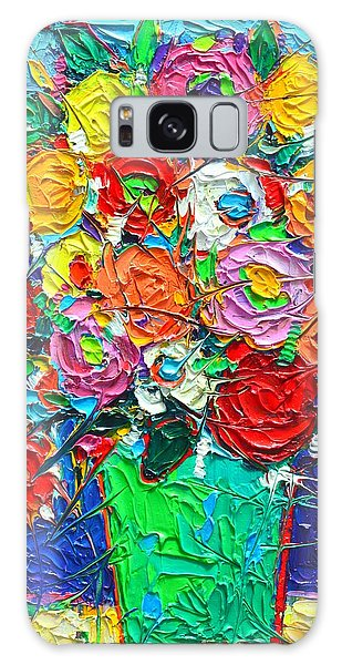 Colorful Wildflowers Abstract Modern Impressionist Palette Knife Oil Painting By Ana Maria Edulescu  Galaxy Case