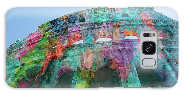 Galaxy Case featuring the mixed media Colourful Grungy Colosseum In Rome by Clare Bambers