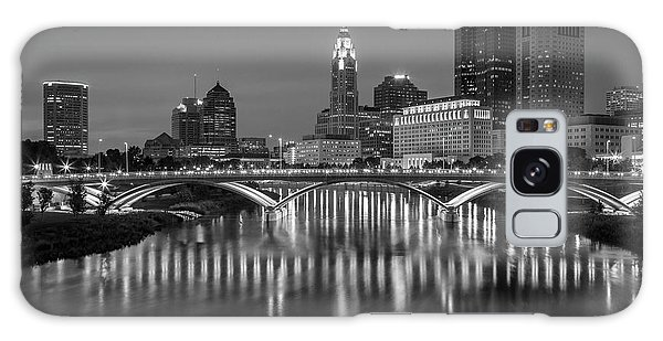 Galaxy Case featuring the photograph Columbus Ohio Skyline At Night Black And White by Adam Romanowicz