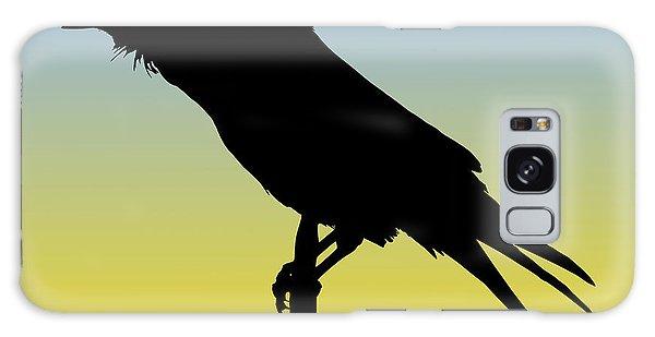 Common Raven Silhouette At Sunrise Galaxy Case