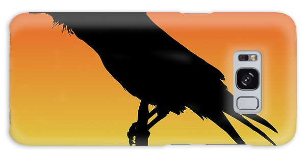 Common Raven Silhouette At Sunset Galaxy Case