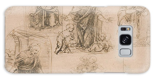Pen And Ink Drawing Galaxy Case - Compositional Sketches For The Virgin Adoring The Christ Child by Leonardo Da Vinci