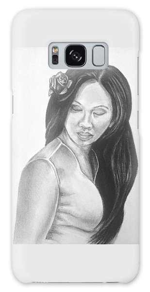Long Hair Asian Lady With Rose In Sorrow Charcoal Drawing  Galaxy Case