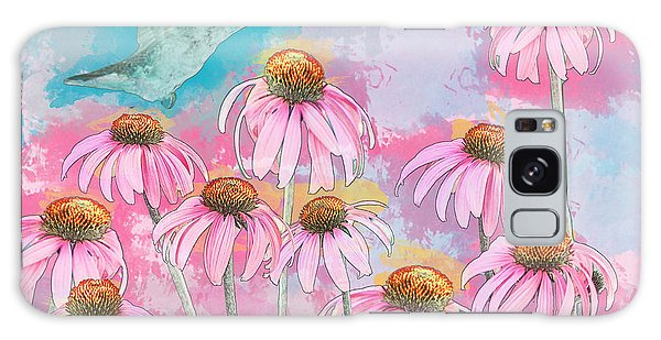 Coneflower Hummingbird Watercolor Galaxy Case by Patti Deters