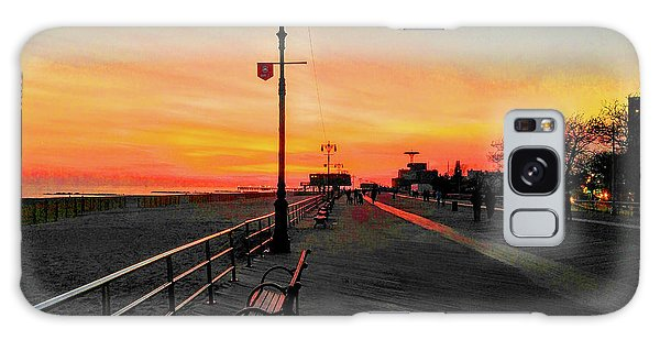 Coney Island Boardwalk Sunset Galaxy Case