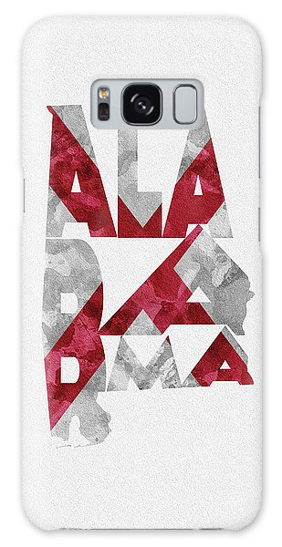 Galaxy Case featuring the painting Alabama Typographic Map Flag by Inspirowl Design