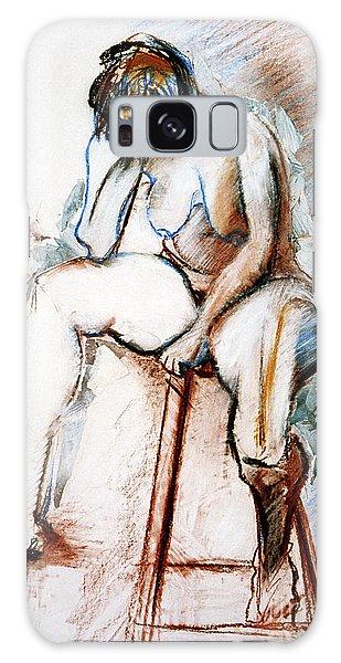 Contemplation - Nude On A Stool Galaxy Case