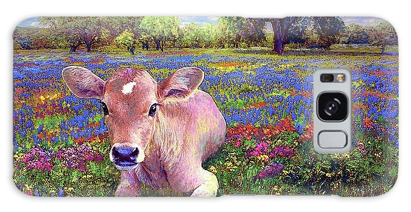 Montana Galaxy Case - Contented Cow In Colorful Meadow by Jane Small