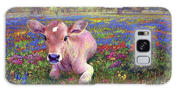 Contented Cow In Colorful Meadow Galaxy Case