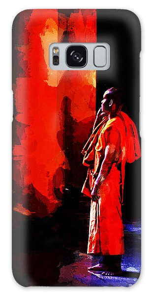 Cool Orange Monk Galaxy Case by Cameron Wood