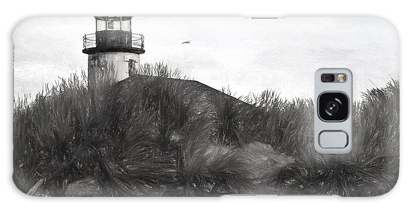 Coquille River Lighthouse Oregon Black And White Giclee Art Print Galaxy Case