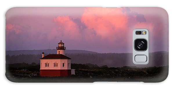 Coquille River Lighthouse Sunset Galaxy Case