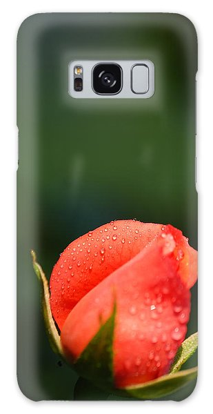 Coral Rose On Green Galaxy Case