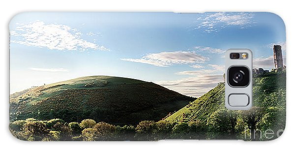 Breaking Dawn Galaxy Case - Corfe Castle Morning Panoramic by Simon Bratt Photography LRPS