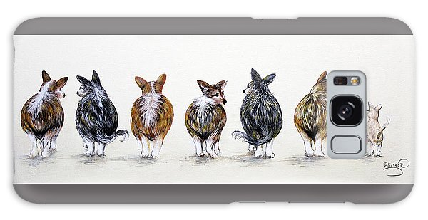 Corgi Butt Lineup With Chihuahua Galaxy Case by Patricia Lintner