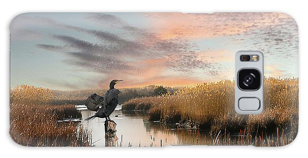 Cormorant At Sunset Galaxy Case