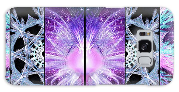 Galaxy Case featuring the mixed media Cosmic Collage Mosaic Left Mirrored by Shawn Dall