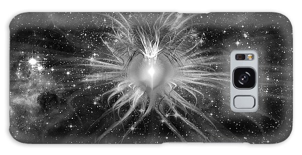 Galaxy Case featuring the digital art Cosmic Heart Of The Universe Bw by Shawn Dall