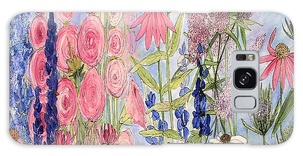 Cottage Flowers With Dragonfly Galaxy Case by Laurie Rohner