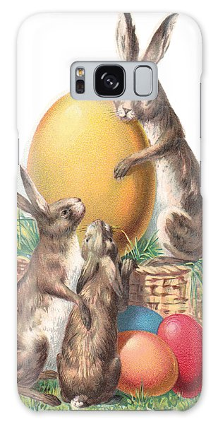 Galaxy Case featuring the digital art Cottontails And Eggs by Reinvintaged