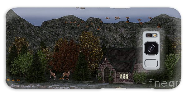 Country Church Autumn At Twilight Galaxy Case by Methune Hively