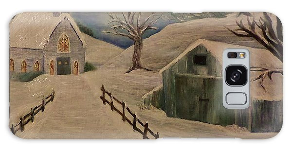 Country Church In The Snow Galaxy Case by Christy Saunders Church