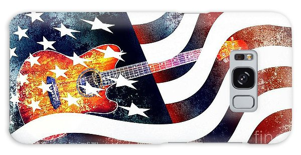 Country Music Guitar And American Flag Galaxy Case
