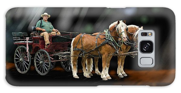 Country Road Horse And Wagon Galaxy Case by Debra Baldwin