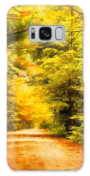 Country Road In Autumn Digital Art Galaxy Case