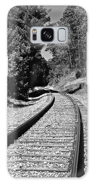 Country Tracks Black And White Galaxy Case