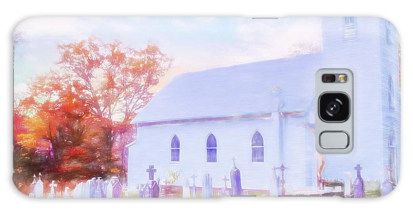 Country White Church And Old Cemetery. Galaxy Case