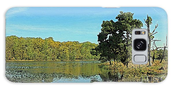 Countryside Netherlands, Lakes, Meadows, Trees, Digital Art. Galaxy Case