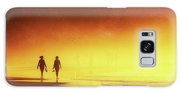Couple Of Women Walking On Beach Galaxy Case