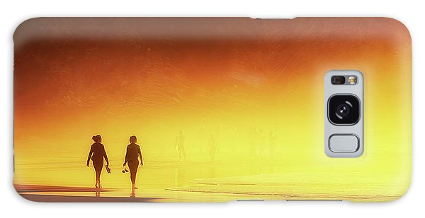 Couple Of Women Walking On Beach Galaxy Case