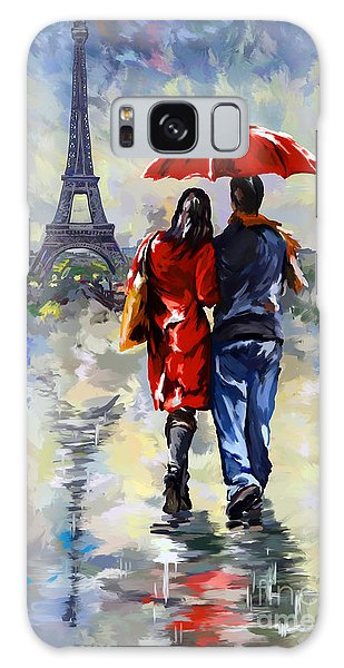 couple walking in the rain Paris Galaxy Case