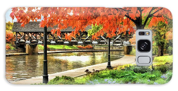 Galaxy Case featuring the painting Covered Bridge Along Riverwalk by Christopher Arndt