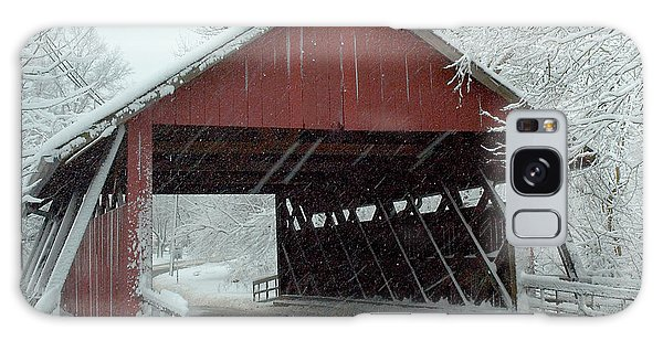 Covered Bridge In Snow Galaxy Case by Don Mennig