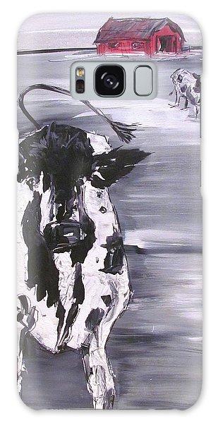Cow In Winter Galaxy Case by Terri Einer