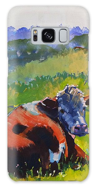 Cow Lying Down On A Sunny Day Galaxy Case