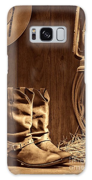 Cowboy Boots At The Ranch Galaxy Case by American West Legend By Olivier Le Queinec
