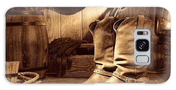 Cowboy Boots In A Ranch Barn Galaxy Case