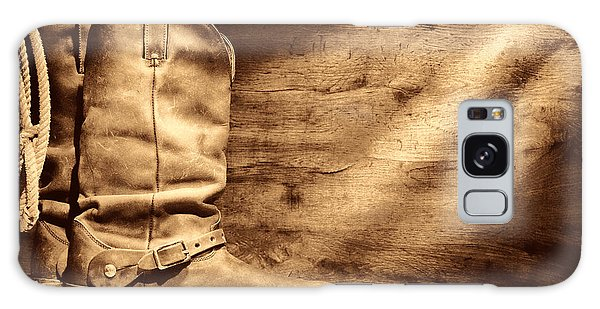 Cowboy Boots On Wood Floor Galaxy Case