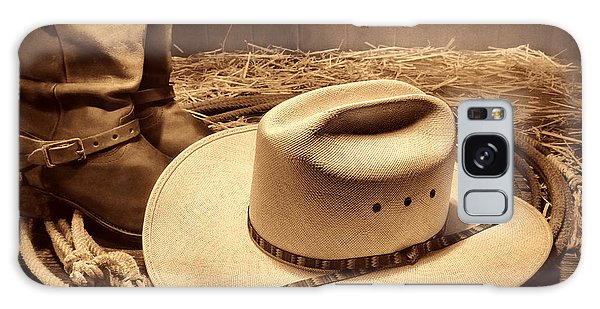 Cowboy Hat On Barn Floor Galaxy Case