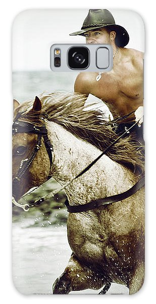 Cowboy Riding Horse On The Beach Galaxy Case