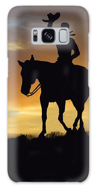 Cowboy Slilouette Galaxy Case by Linda Phelps